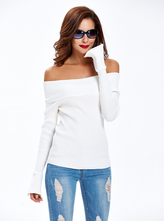 Off Shoulder Sweater White Sweater Slim Fit Sweater