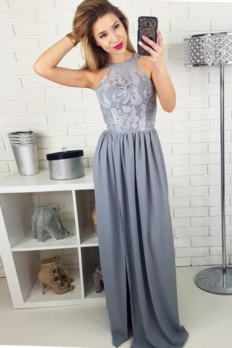 Fashion A Line Halter Long Grey Lace Satin Prom/Evening Dress With Slit