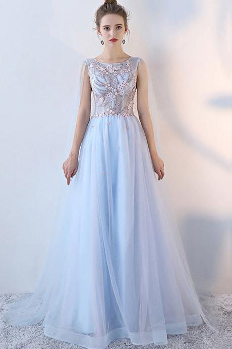 Romantic A Line Scoop Lace Up Long Light Blue Tulle Prom Dress With Beaded Flowers