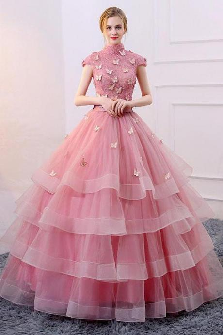 Romantic Ball Gown High Neck Cap Sleeves Lace Up Long Pink Organza Quinceanera/Prom Dress With Appliques