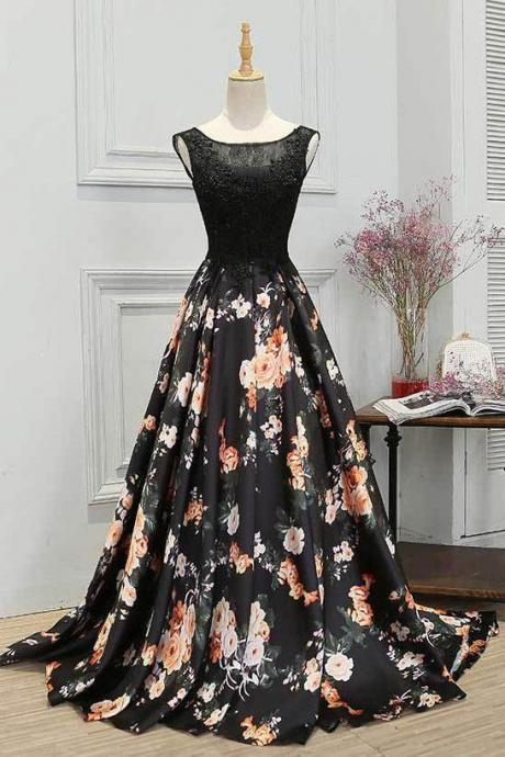 Fashion A Line Crew Lace-Up Black Lace Floral Satin Prom/Evening Dress With Beading