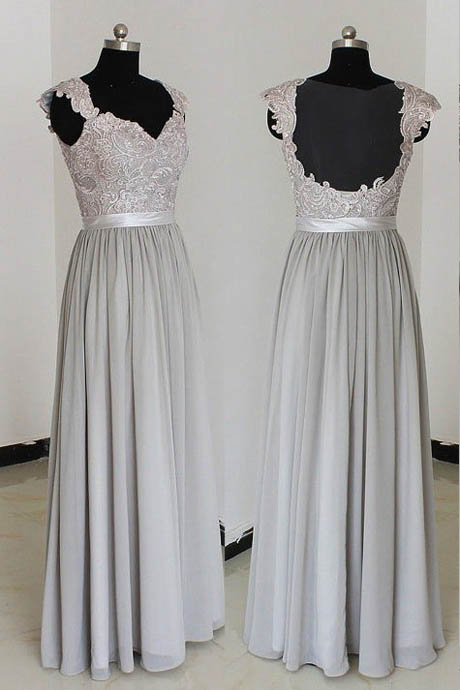 Elegant A Line Sweetheart Long Grey Chiffon Lace Bridesmaid Dresses
