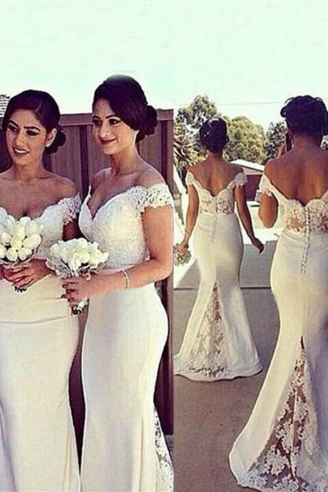 Elegant Mermaid Off-shoulder Long White Lace Bridesmaid Dress With Sweep Train
