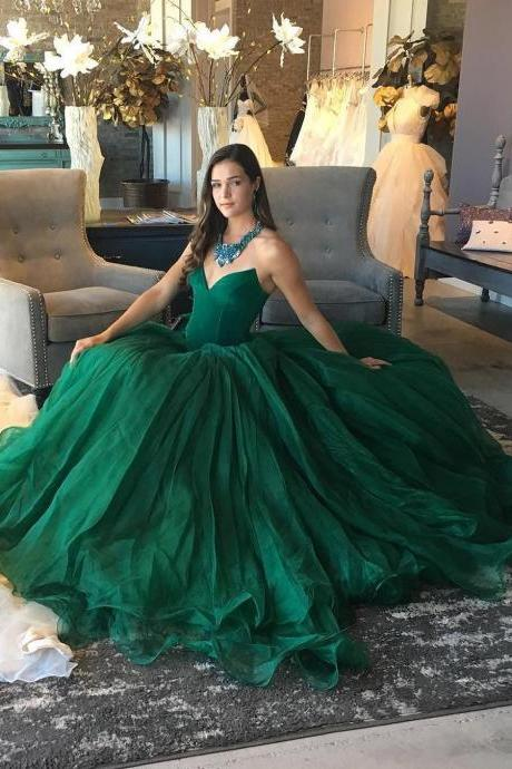 Simple A Line Sweetheart Long Green Tulle Evening/Formal/Prom Dresses