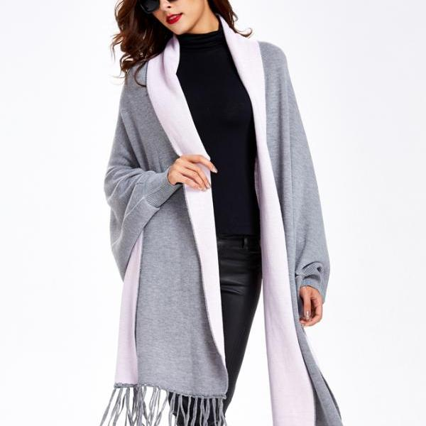 Striped Sweater Coat Black Sweater Coat Cardigan Sweater with Tassel